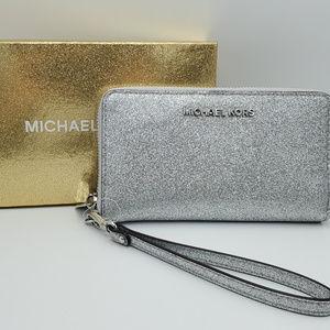 Michael Kors Large Flat Phone Case Silver Wristlet
